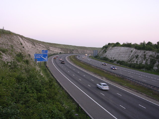 File:The M3- Twyford Down cutting at dusk - Geograph - 23924.jpg