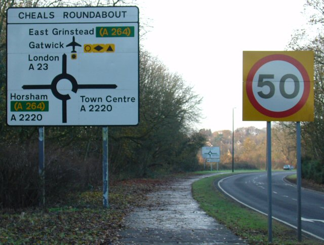 File:Signage approaching Cheals Roundabout from SE (A23) - Geograph - 88972.jpg