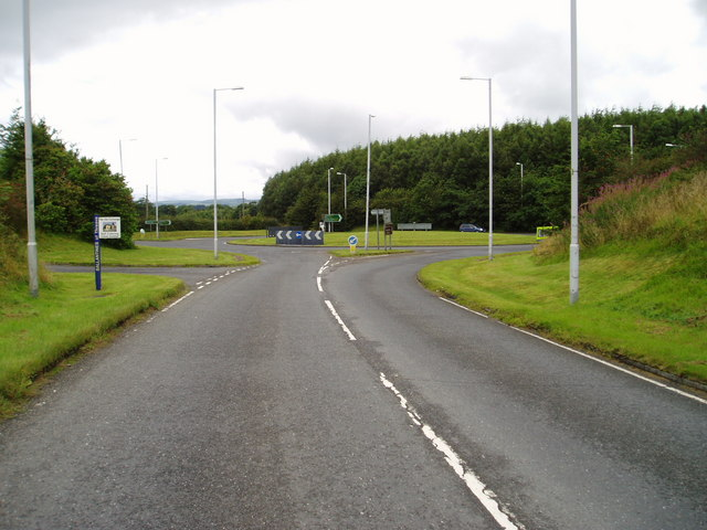 File:Roundabout on A75 west of Castle Douglas - Geograph - 523610.jpg