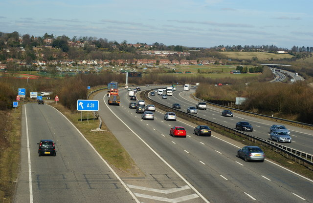 File:M3 Motorway, at Twyford Down, Hampshire - Geograph - 1736665.jpg