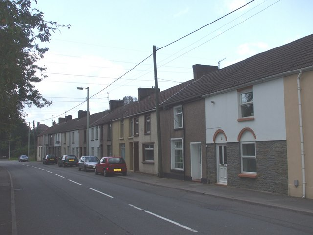 File:Terraced houses, A4054, north of Upper Boat - Geograph - 970395.jpg