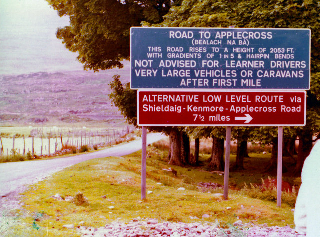File:Signs for the road to Applecross in 1980 - Geograph - 2315798.jpg