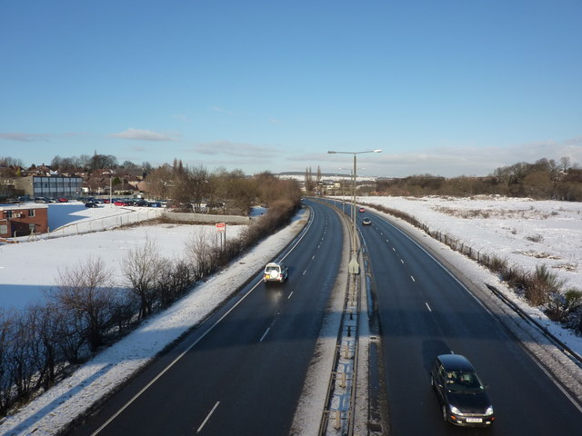 File:Looking north over the A61 - Geograph - 1651571.jpg