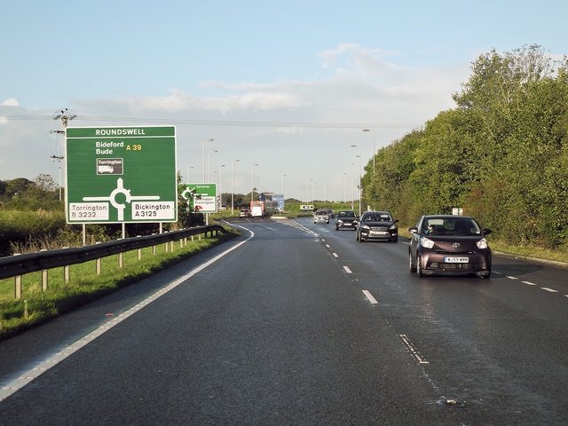 File:Approaching the new Roundabout at Roundswell on the A39 from the east - Geograph - 4200840.jpg