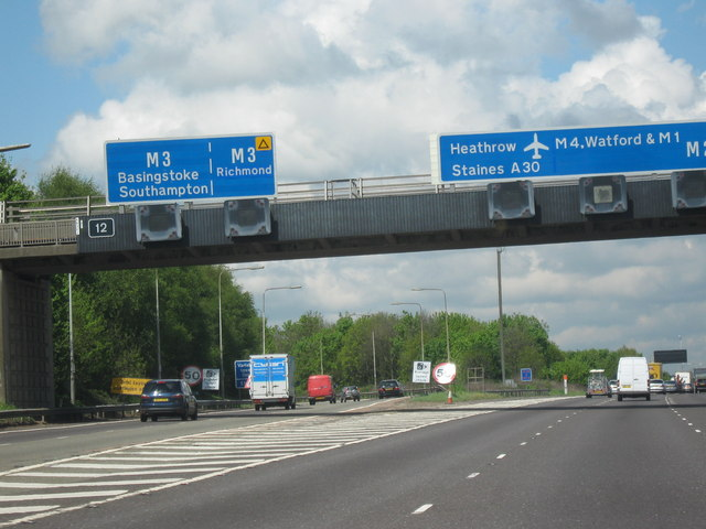 File:M25 Motorway Clockwise. Junction 12 Slip Road For The M3 - Geograph - 1280474.jpg