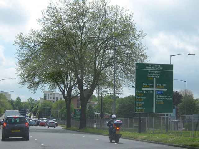 File:A38 Approaching Inner Ring Road at Belgrave Interchange - Geograph - 1291358.jpg