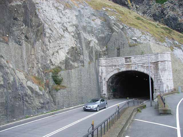 File:Emerging from the eastbound tunnel at Penmaen-bach - Geograph - 226801.jpg