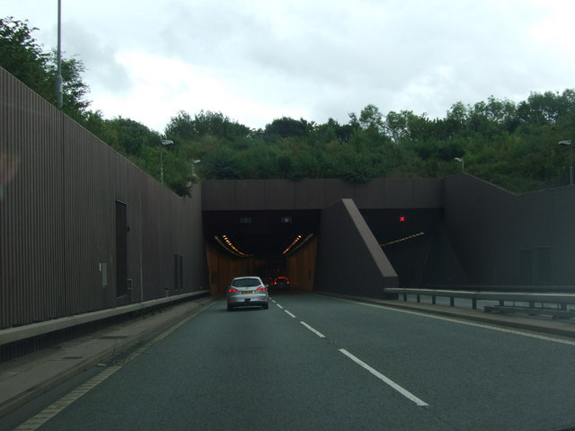 File:East bound entrance to Conwy Tunnel A55 - Geograph - 1470231.jpg