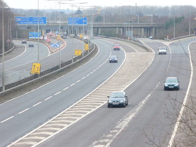 File:M3, Thorpe Interchange - Geograph - 1165420.jpg