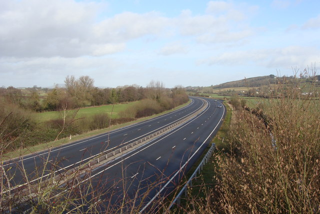 File:A449 from bridge at Llandenny - Geograph - 1122877.jpg