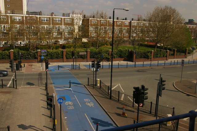File:Cycle superhighway, Poplar, from the DLR (C) Christopher Hilton - Geograph - 2910287.jpg