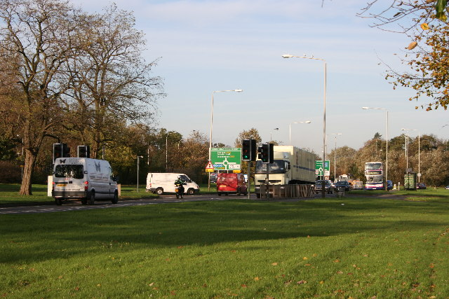 File:Approaching Groby Road Roundabout - Geograph - 75359.jpg