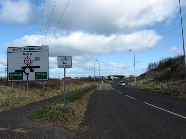 File:The Spott road heading to its junction with the A1 trunk road - Geograph - 1220952.jpg
