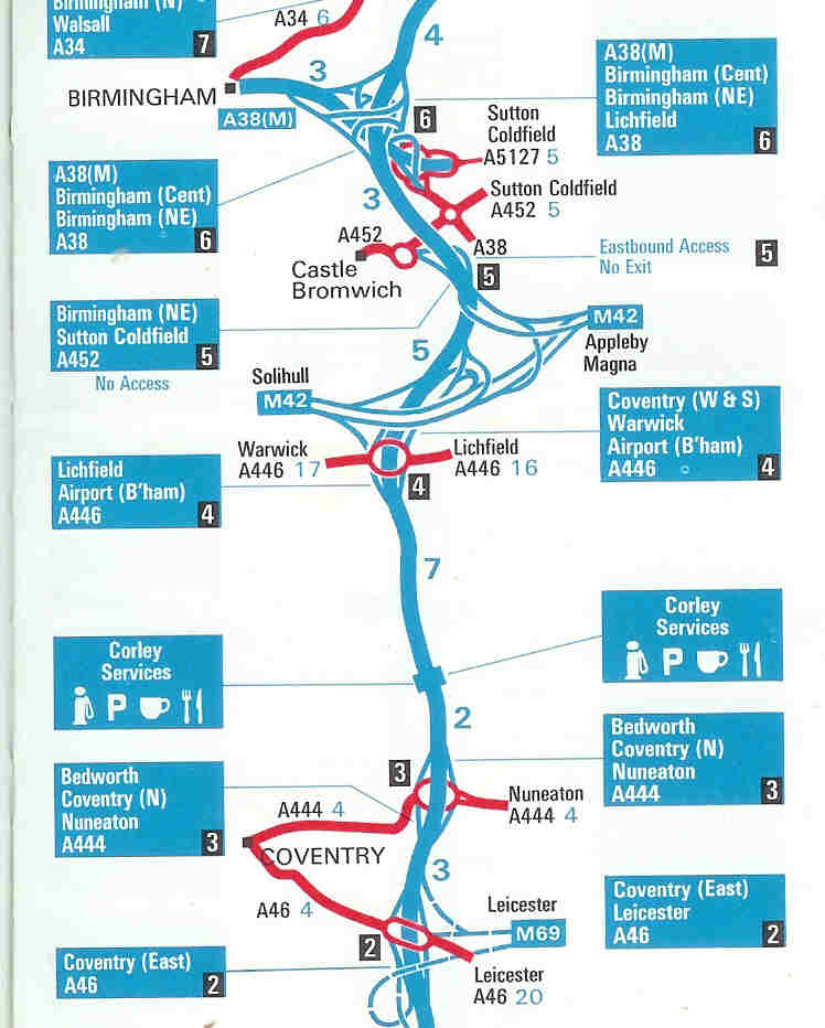 M6 Junctions Map File:Optimistic 1975 Esso Motorway Map 3   Coppermine   834.  M6 Junctions Map