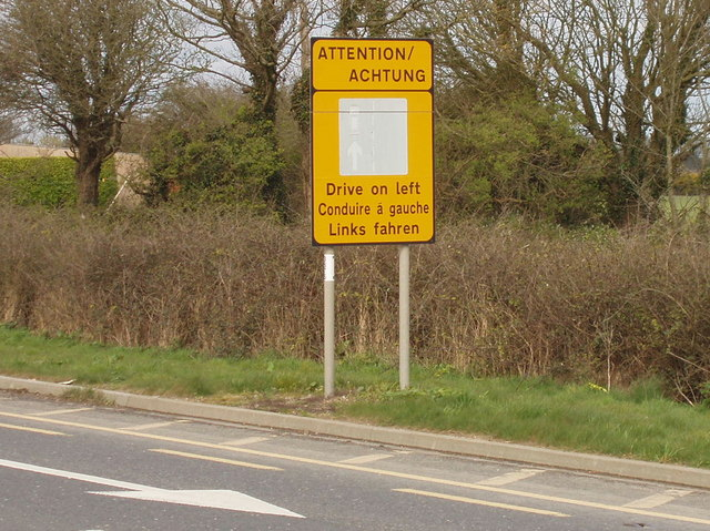 "File:""Drive on left"" road sign near Rosslare - Geograph - 1275515.jpg"