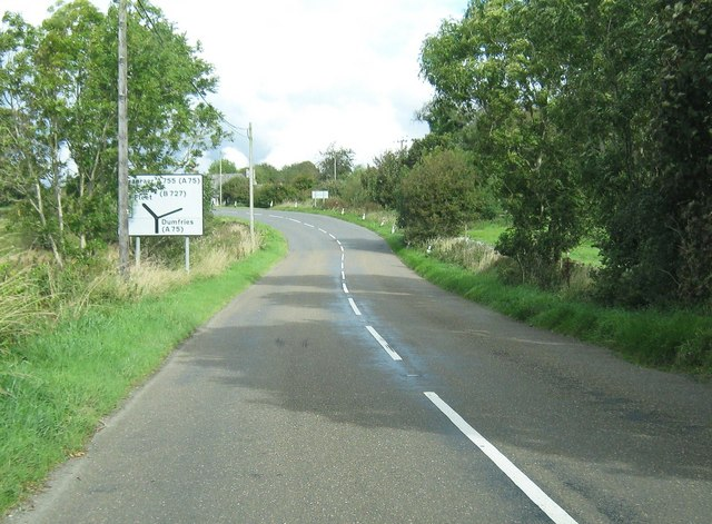File:Approaching a junction on the A755 - Geograph - 2121691.jpg