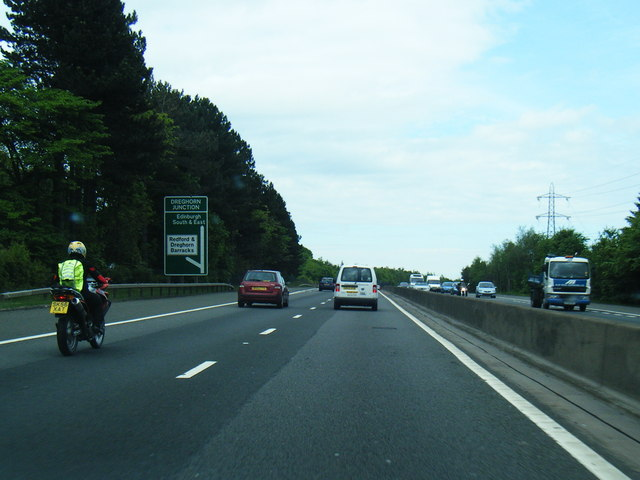 File:A720 approaching Dreghorn Junction - Geograph - 3540856.jpg