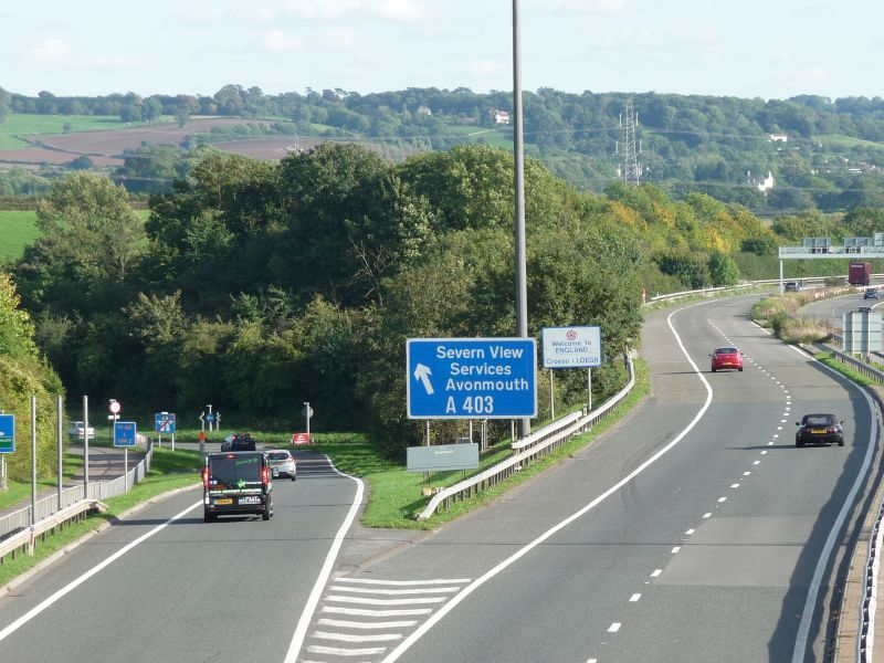 File:Slip road to Severn View Services.jpg