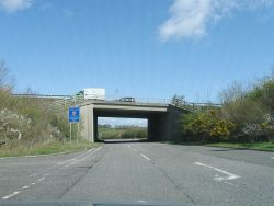 B3390 passes under the A35 - Geograph - 4427124.jpg