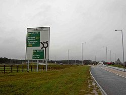 The new roundabout and bridge over the A1 at what was 5 lane ends - Geograph - 1126558.jpg