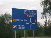 Roundabout sign, Ivalo, Finland - Murmansk on Route 91 is just over there - Coppermine - 6738.jpeg