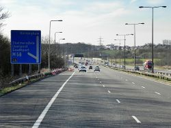 Southbound M6 at Junction 26 (for the M58) - Geograph - 4458335.jpg