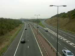 M4 and M48 Motorway junction at Awkley Hill - Geograph - 68568.jpg