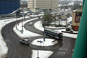 County Mall car park access roundabout - Geograph - 1661554.jpg