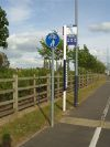 Shared Footpath and Bus Stop Pole Sign Prologis Park Coventry - Coppermine - 11596.jpg
