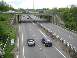 Milton Keynes- A5 at Redmoor Roundabout - Geograph - 1846393.jpg