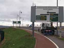 Approaching Middlehaven Interchange - Geograph - 658058.jpg