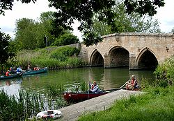 Canoeing at Radcot Bridge, Oxfordshire - Geograph - 13760.jpg