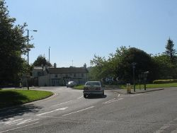 The roundabout at the Anglesey end of the Menai Bridge - Geograph - 1350599.jpg