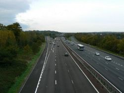 Westbound carriageway of M4 just east of J15 - Geograph - 276174.jpg