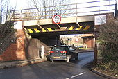 Low railway bridge, B1078 at Needham Market - Geograph - 653828.jpg