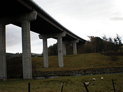 Below A9 Viaduct as it crosses the River Findhorn - Geograph - 1051191.jpg