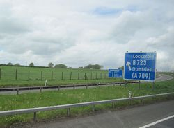 M74 junction 18 slip road northbound - Geograph - 2411090.jpg
