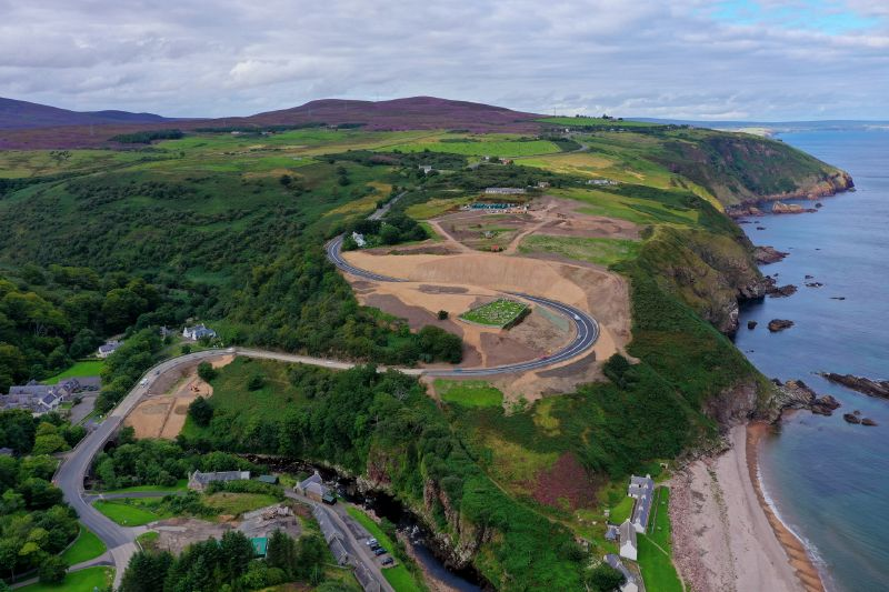 File:A9 Berriedale Braes Improvement - August 2020 aerial from South.jpg