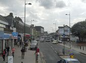 Northfield shopping centre through the dirty window of a bus - Geograph - 2633468.jpg