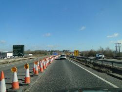 A47 approaching the park and ride interchange and roadworks - Geograph - 4364132.jpg
