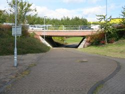 Footpath and cycleway in the middle of Hallens Drive roundabout - Geograph - 999829.jpg