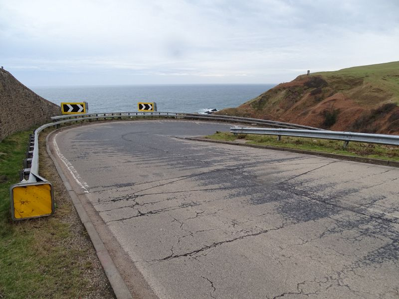 File:A9 Berriedale Braes Improvement - February 2019 hairpin from top of bend.jpg