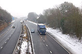 Snowy conditions on the M45 motorway, Dunchurch - Geograph - 1661918.jpg