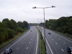The M6 viewed south from Spindle Hillock road bridge - Geograph - 2059841.jpg