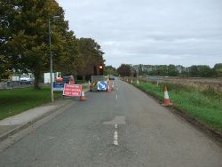 Roadworks on Upwell Road - Geograph - 4715457.jpg