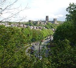 Durham Cathedral from London-Edinburgh train - Geograph - 1295224.jpg