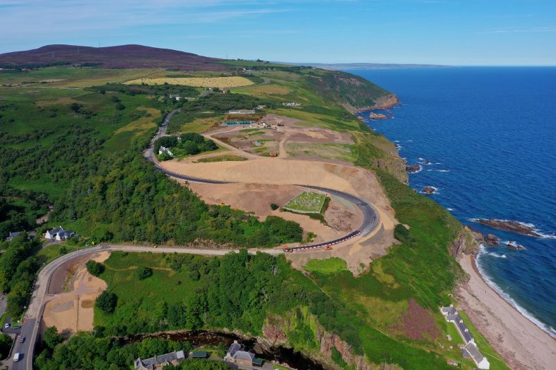 File:A9 Berriedale Braes Improvement - 9 August 2020 distant aerial from south.jpg