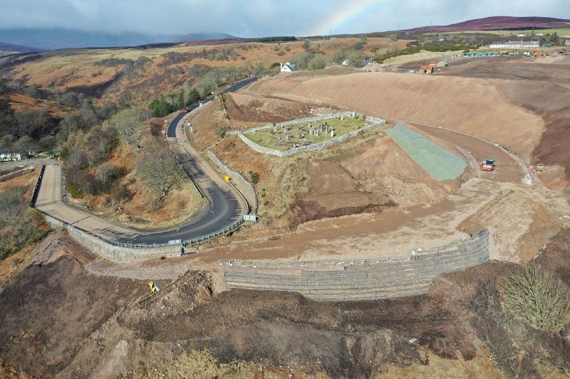 File:A9 Berriedale Braes Improvement - March 2020 construction aerial from South East.jpg