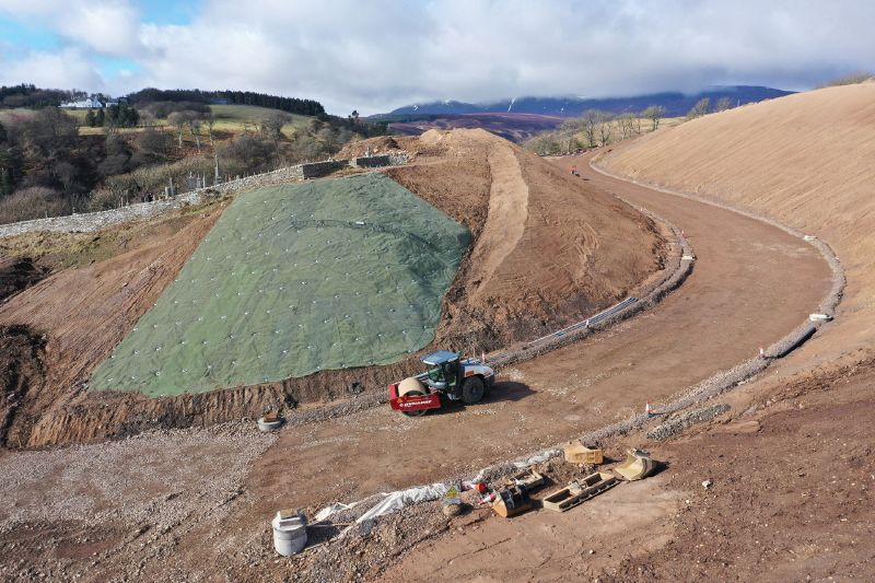 File:A9 Berriedale Braes Improvement - March 2020 construction aerial from East.jpg