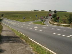 Tour coach leads the way to Stonehenge - Geograph - 2228073.jpg